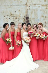 Watermelon Colored Strapless Bridesmaids Dresses 1