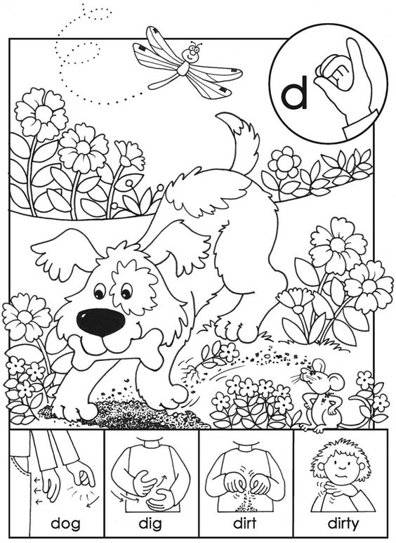 Asl On Pinterest American Sign Language Sketch Coloring Page