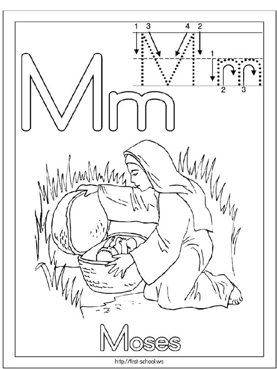 Alphabet, Baby moses and Coloring pages on Pinterest