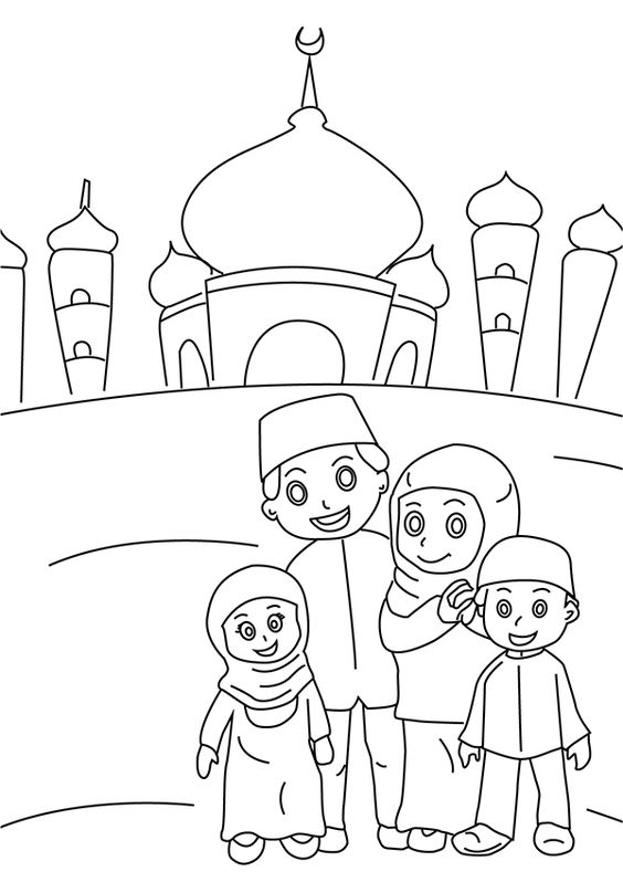 Muslim Mosque Coloring Page Islamic Pages Beautiful