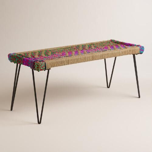 Built using simple, modern lines, this eclectic Chindi bench nods to the vibrant and colorful culture of India. Chindi is a sustainable design tradition that repurposes leftover fabric into practical home items. Handmade in Jodhpur, no two benches are exactly alike due to the nature of the recycled Chindi materials. Place one in your entryway or use it as a dining bench to add color and character to your space.: