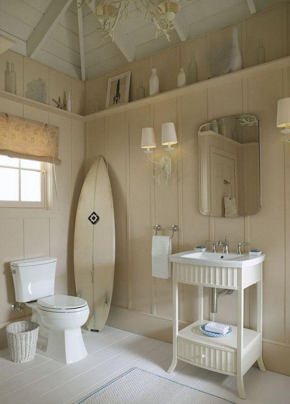 Board and batten a shelf? Beach House Decorating | Beach Cottage Interiors: 6 Bath Design Ideas | http://nauticalcottageblog.com