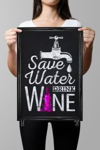Wall Art-Chalkboard Art-Wine-Drinks-Beverages-Bottle-Water ...