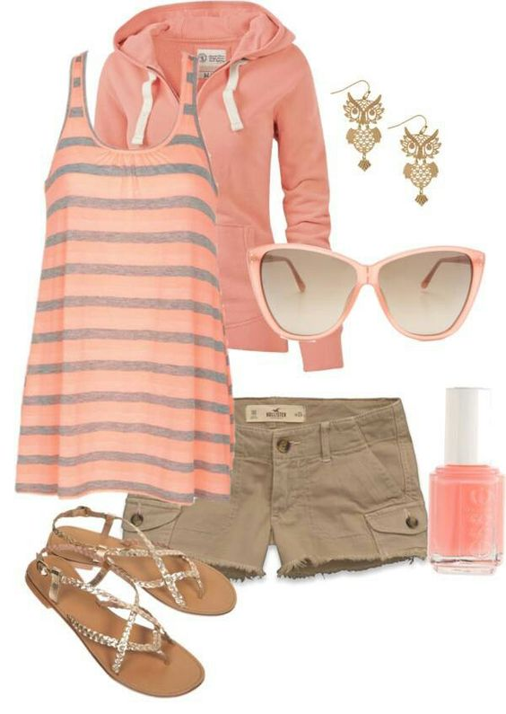I really like this striped peach top: