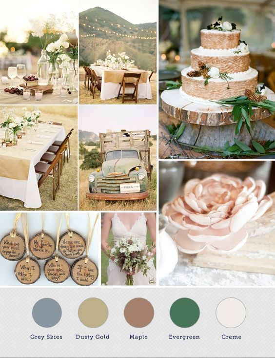 Rustic wedding colors Wedding colors and Wedding color