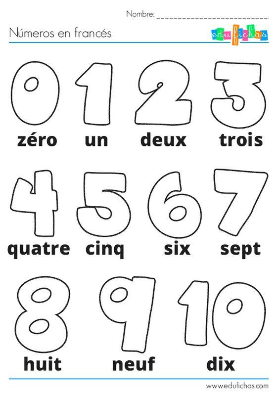 Ficha de actividades infantiles con los números en francés