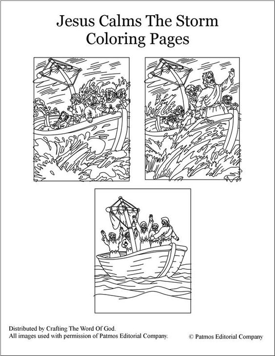 Jesus calms the storm, The storm and Coloring pages on