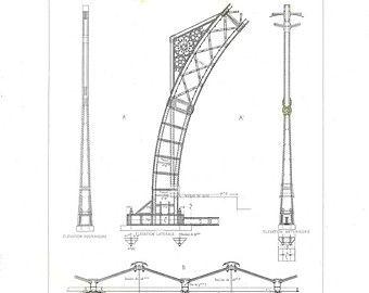 Cast Iron Railway Station Technical Drawing, Saint Pancras