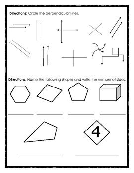 FREE Math Review: Angles, Shapes and Perpendicular Lines
