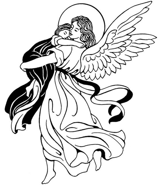 Guardian Angel Catholic Coloring Page. Feast of the