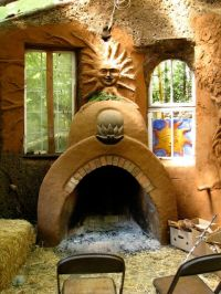Straw bale and cob house, fireplace - links to many more ...