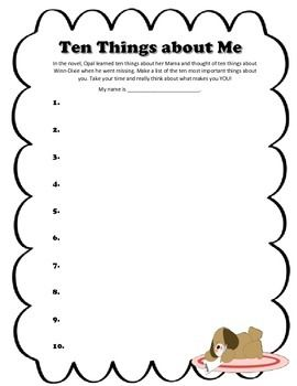 Ten Things about Me Printable ~ Because of Winn-Dixie