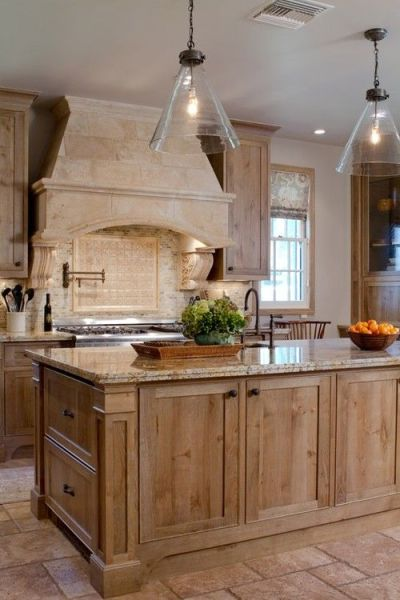 french colonial kitchen design French country kitchen bleached wood cabinets, masonary range hood. French Colonial style in