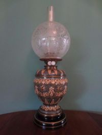 ANTIQUE VICTORIAN (C1890) DOULTON LAMBETH OIL LAMP-FINE ...