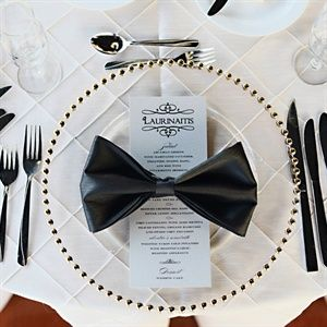 Bow-Tie Napkin Place Setting on glass gold beaded chargers: