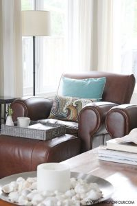 Brown leather chairs, Pottery and Living rooms on Pinterest