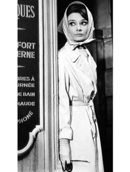 Audrey Hepburn Cute Outfits - Trench coat, gloves, sunglasses, and scarf