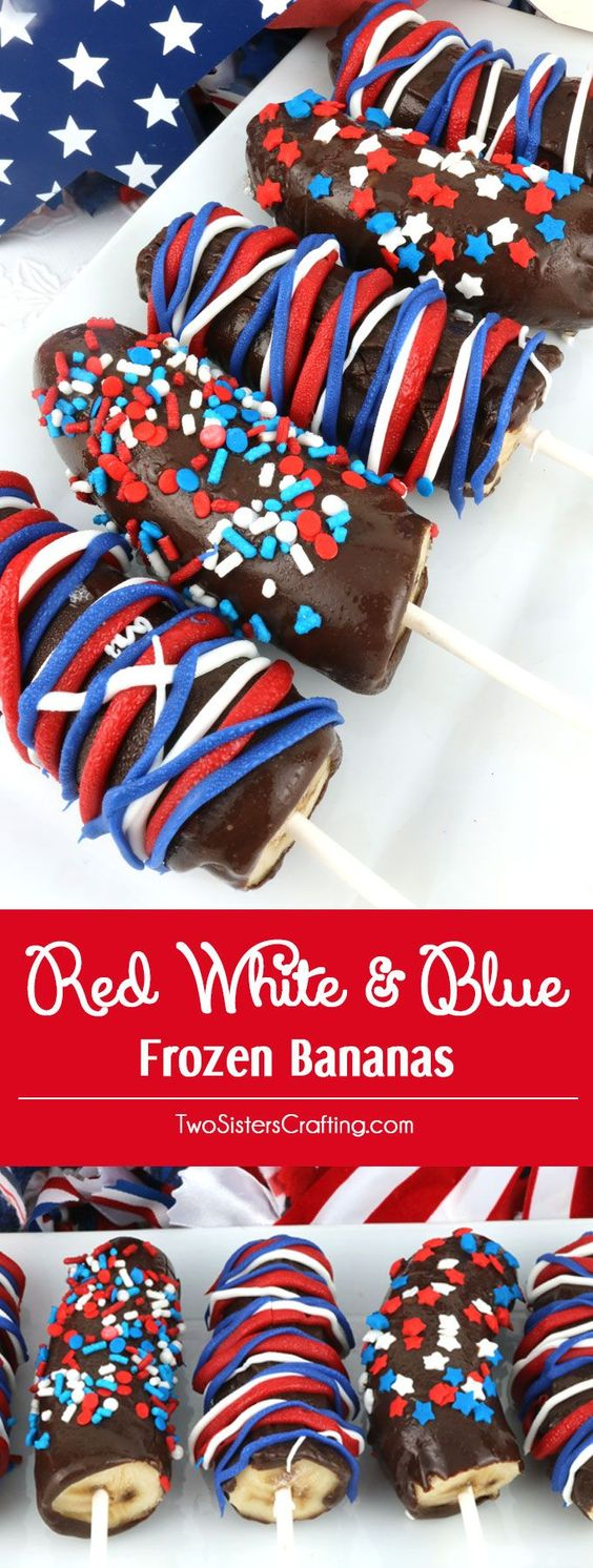 Red White and Blue Frozen Bananas - easy to make patriotic homemade chocolate covered frozen bananas for a 4th of July Party or a Memorial Day Barbecue. Call them Frozen Bananas or call them Monkey Tails but this delicious frozen summer treat will be a great 4th of July dessert. Pin this yummy Fourth of July treat for later and follow us for more 4th of July Food ideas. @OhHotNellie