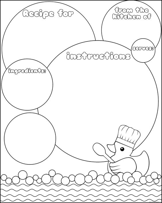 Printable rubber duck recipe page- there is a colored