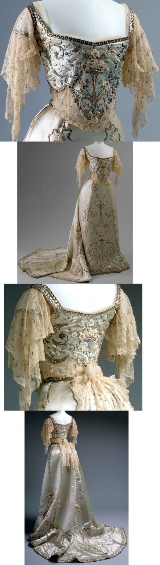 Worth ballgown, 1900-1905. Silk and cotton with metallic thread, glass, and metal ornamentation. #worth #ballgown #eveninggown #edwardian #vintagefashion: