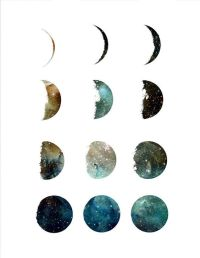 Galaxy moon phase print, wall art, poster, moon art print ...