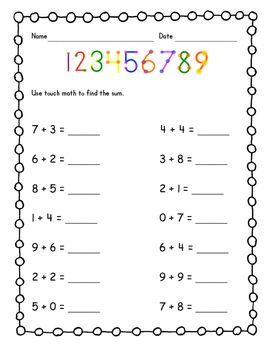 Practice using touch math to find sums of basic facts with