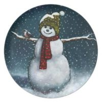 Smiling Snowman in Snow: Chickadee: Pastel Art Dinner ...