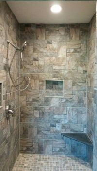 Rustic walk-in stone shower | Decor | Pinterest | Stone ...