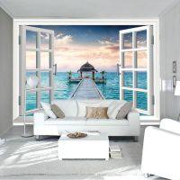 3D Window Wall Mural Ocean photo wallpaper Personalized ...