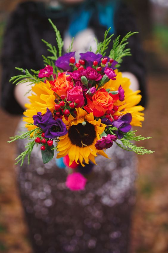 Beautiful Sunflowers Mixed With A Variety Of Bright And