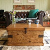 Vintage RUSTIC pine INDUSTRIAL factory TOOL chest TRUNK ...