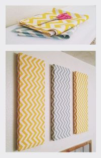 Chevron DIY wall decor. Foam, fabric and small nails
