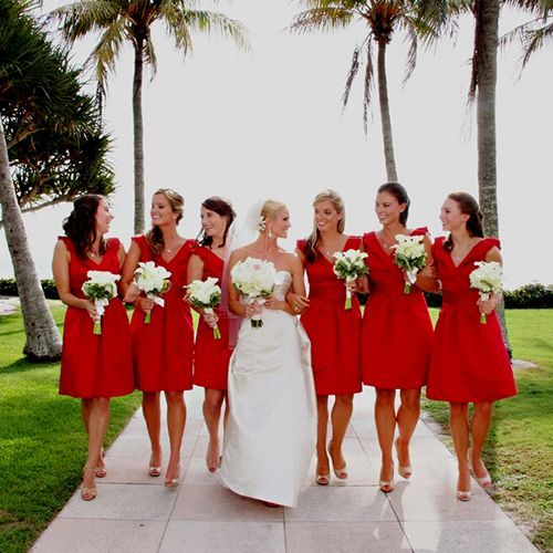 Beach wedding, short #Red #Bridesmaid #Dresses  For an