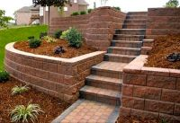 driveway slope retaining wall | terraced landscape wall is ...