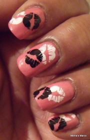 nail art valentines and polish