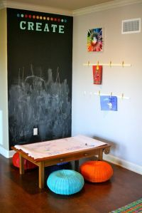 Chalk board, Poof and Playrooms on Pinterest