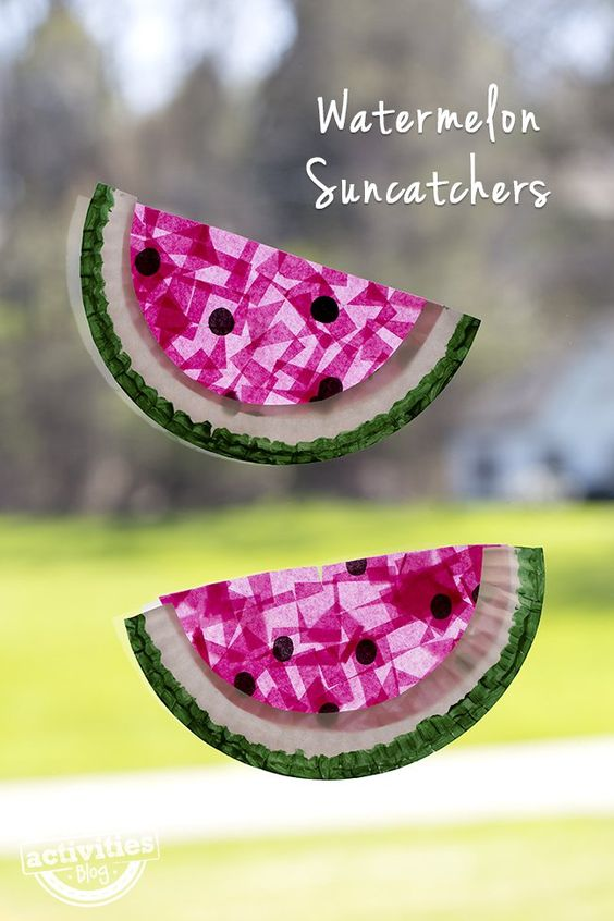 Paper Plate Watermelon Suncatchers - how cute!!: