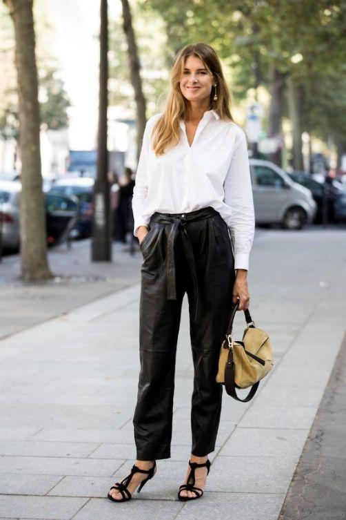 Camisa branca Vs Calças de pele . Visite o SimplesModa, um blog e revista de moda em Português.:
