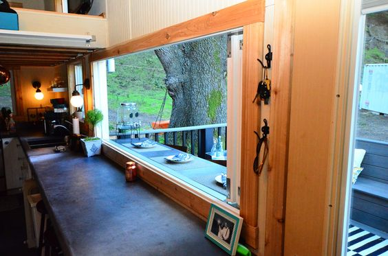 Tiny House Basics on Tiny House Swoon - to seat 6 for dining indoor/outdoor or for large work-surface indoors and on deck or porch: