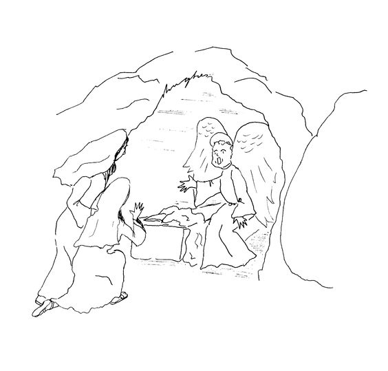 The Resurrection, Mary and Mary Magdalene and an angel at