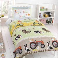 kids bedding with tractor