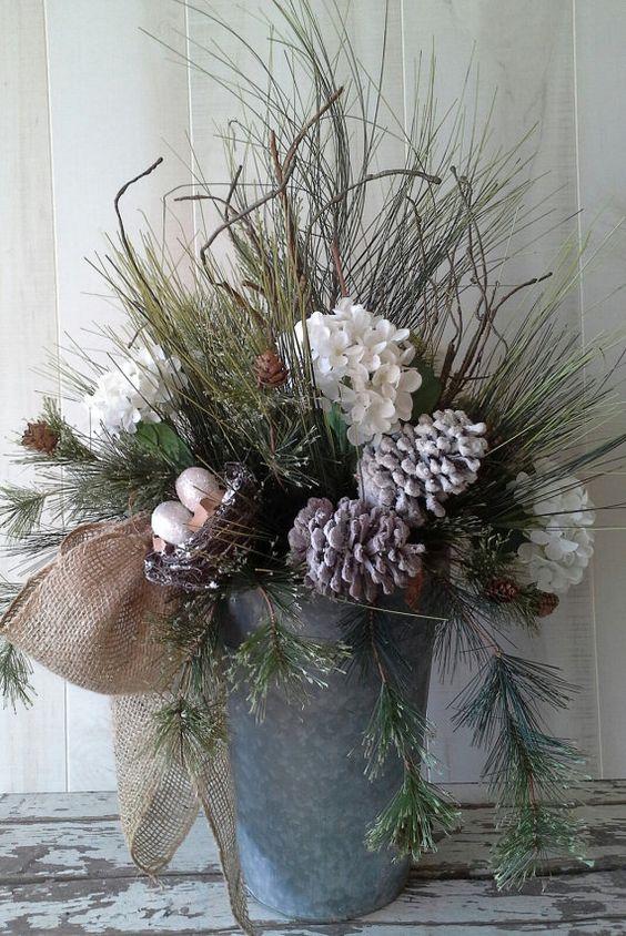 Winter arrangement Flower Arrangement Christmas by 6miles on Etsy, $98.00: