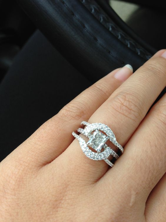 Halo Ring Guard On Radiant Pave Diamond Engagement Ring