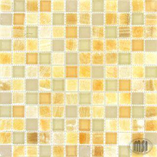 Premium Glass Mosaics Honey Ivory Onyx blend via Home