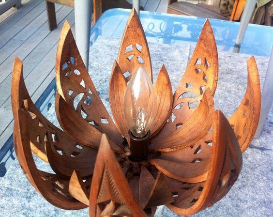 Vintage Hand Carved Wood Lotus Flower Lamp