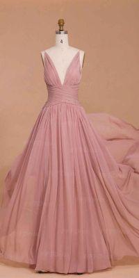 Spaghetti straps dusty pink bridesmaid dresses long ...