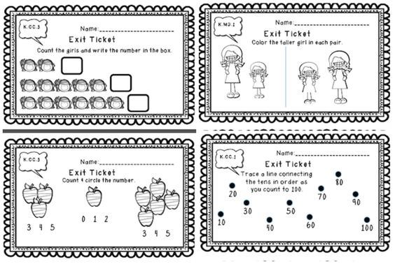 Exit tickets, Kindergarten common core and Common core