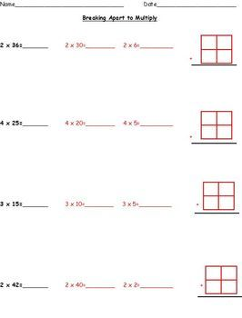 Partial Product Algorithm Multiplication Worksheet
