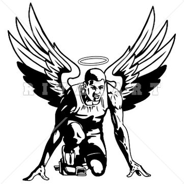 Mascot Clipart Image of A Mens Angels Track And Field