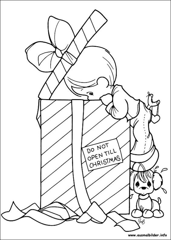 Weihnachten, Precious moments and Christmas coloring pages